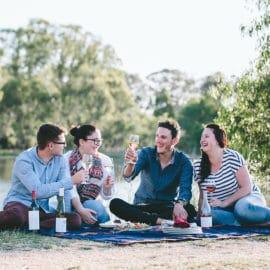 Lake King friends food wine picnic